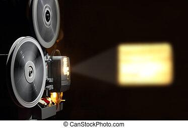 actuación, viejo, proyector, película