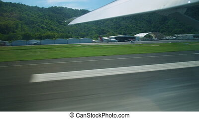 Actual landing of an airplane on a runway