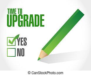 actualização, aprovação, conceito, tempo, sinal