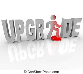 actualização, pessoa, ligado, botão vermelho, improves,...