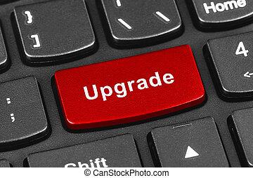 actualização, tecla computador, caderno, teclado