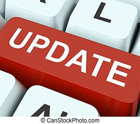 actualização, tecla, meios, revisão, ou, actualização