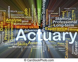 actuary, baggrund, begreb, glødende