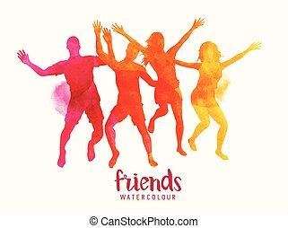 acuarela, amigos, saltar, juntos