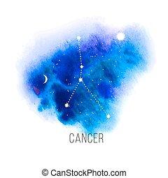 acuarela, astrología, plano de fondo, cáncer, señal