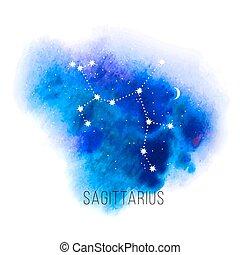 acuarela, astrología, sagitario, señal