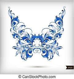 acuarela, azul, mariposa