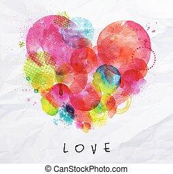 acuarela, cartel, amor