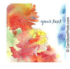 acuarela, chrysanthemum., plano de fondo