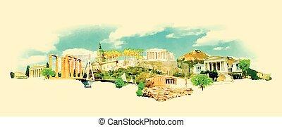 acuarela, ciudad, atenas, ilustración