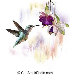 acuarela, colibrí, flores