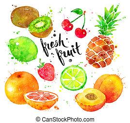 acuarela, conjunto, fruta