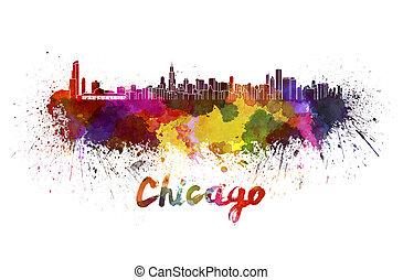 acuarela, contorno, chicago