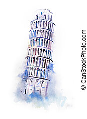 acuarela, dibujo, pisa., propensión, mundo, torre, pintura, ...