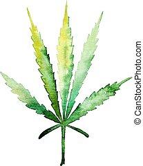 acuarela, diseño, cannabis, su, projects., ilustración, hoja verde