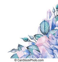 acuarela, diseño, con, cristales, y, hojas