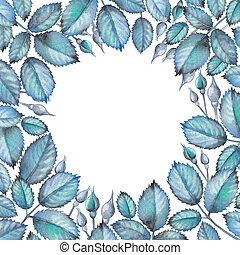 acuarela, diseño, con, rosa, hojas