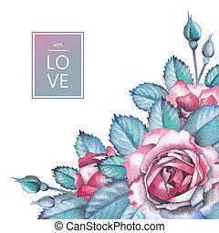 acuarela, diseño, con, rosas, y, hojas