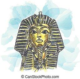 acuarela, egipcio, dibujado, mano, dorado, máscara, faraón