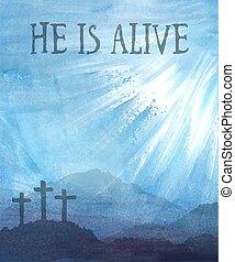 acuarela, escena, pascua, cross., ilustración, christ., ...