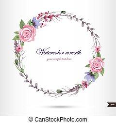 acuarela, flores, guirnalda