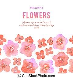 acuarela, flowers., plano de fondo, violets.