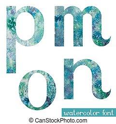 acuarela, fuente, verde azul,  M,  N,  O,  P