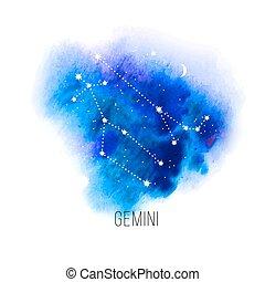 acuarela, géminis, astrología, plano de fondo, señal