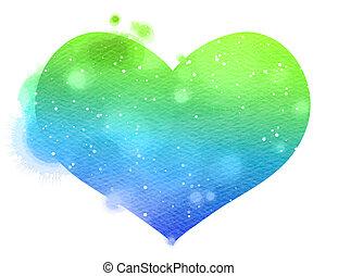 acuarela, heart., concepto, sobre, amor, y, relationship.,...