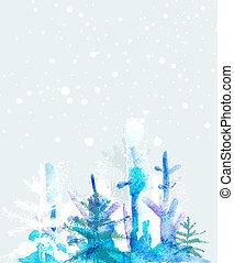acuarela, invierno, plano de fondo