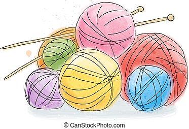 acuarela, lana, pelota, garabato