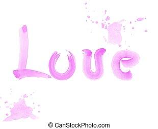 acuarela, letras, amor, cepillo