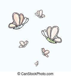 acuarela, mariposa, resumen, colorido, colección