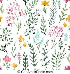 acuarela, patrón floral