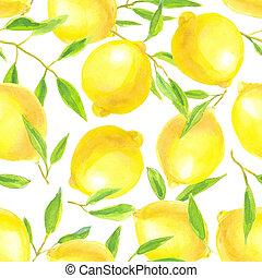 acuarela, patrón, limones, hojas