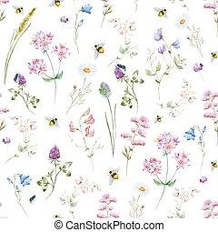 acuarela, patrón, wildflower