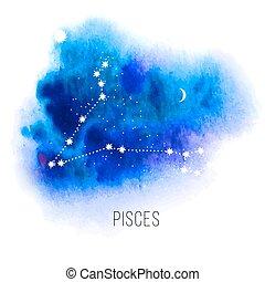 acuarela, piscis, astrología, plano de fondo, señal