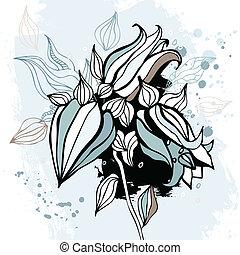 acuarela, Plano de fondo, flor,  BLUEBELL