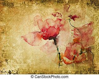 acuarela, rosas, textura