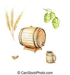 acuarela, saltos, barril de cerveza, conjunto, jarra, festival:, cebada