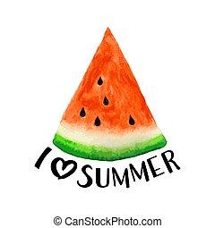 acuarela, sandía, patrón, con, letras, (i, amor, summer), vector