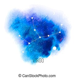acuarela, señal, plano de fondo, astrología, virgo, azul