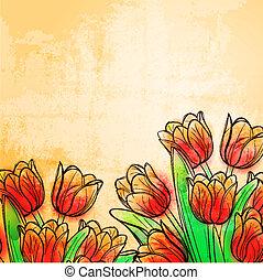 acuarela, tulipanes, retro