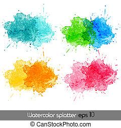 acuarela, vector, splatters.