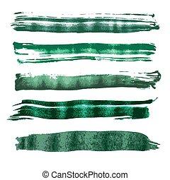acuarela, vector, verde, cepillo, strok