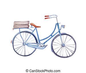acuarela, vendimia, bicicleta, con, caja, de, flowers.