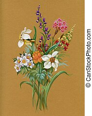 acuarela, verano, flora, collection: