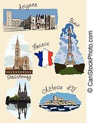acuarela, vistas, francia