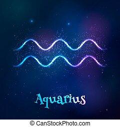 acuario, cósmico, brillar, neón, zodíaco, azul, símbolo