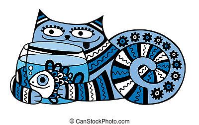 acuario, gato